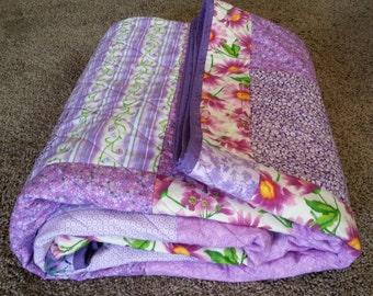 Twin or Full-Sized Lavender Turning Twenty Quilt