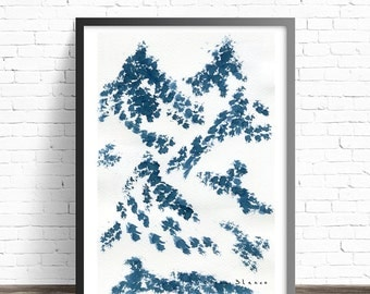 Abstract Mountain Art Print. Modern print. Abstract watercolor print. Modern home decor. Nature art print. Modern Art print. Wall posters