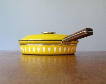 Mid Century Cathrineholm Yellow Enamel Lidded Skillet / Pan