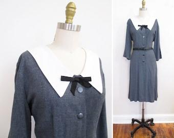 Vintage 1950s Dress   Heathered Grey Gabardine 1950s Day Dress   size medium
