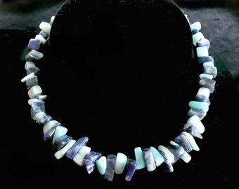 Blue Gemstone Necklace Agate Chunky & Retro