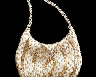 Vintage Evening Bag Gold Beaded Retro