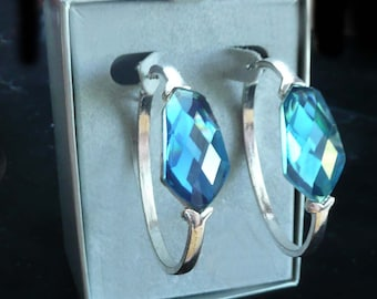 Hoop Earrings Blue with Faceted Rhinestones Big