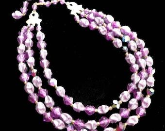 Purple Lucite Necklace 1960s Three Strand Fancy Beaded Retro Vintage