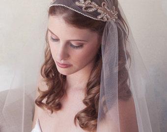 SALE, Rose Gold Great Gatsby Veil, Juliet Cap Veil, Wedding Veil, Crystal Cap Veil, Cap Veil, Vintage Inspired Tulle Veil, Art Deco Cap Veil