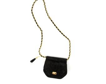 Vintage 1980's Black Suede Quilted Leather Metallic Gold Chain Link Shoulder Purse Handbag