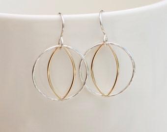 Lightweight Earrings, Boho Circle Earrings, Silver Earrings, Silver Gold Two Toned, Bridesmaid Gift, Hoop Earrings Silver Earrings Geometric
