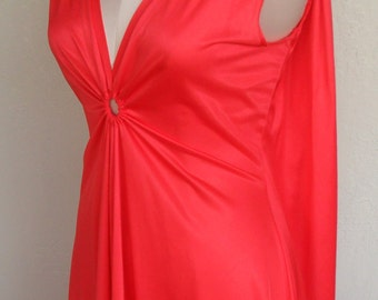 Vintage Deena Goddess Nightgown Red Keyhole