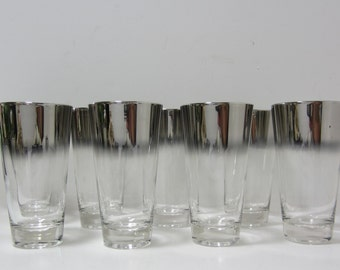 Silver Rim Hi Ball Glasses Set of 8 Tumblers, Dorothy Thorpe Inspired, Heavy Glassware, Mid Century Modern, Mad Men, Hi Ball Glasses, Ombre