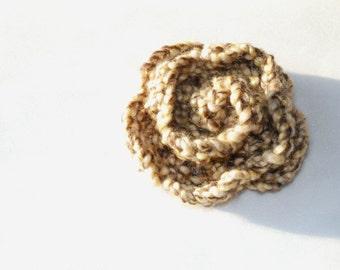 Fabric Brooch, Flower Brooch, Crochet Brooch, Caramel Crochet Brooch, Melange Flower Brooch, Brown Crochet Flower Brooch