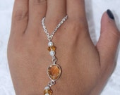 Natural Yellow Topaz Link Chain Bracelet Connected to Ring Fashion Jewelry Ring and Bracelet Hand Slave Bracelet