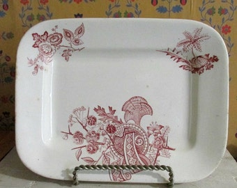 Antique Ironstone Platter, Serving Tray, Primitive Dinnerware, Oriental Decor, Party Platter,  Ironstone Server