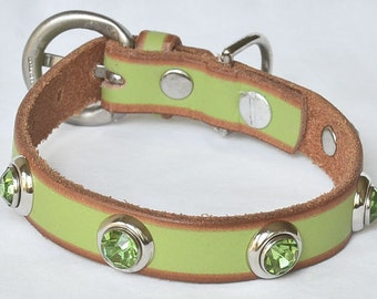 """Lime Green Leather Dog Collar, Small Lime Green dog collar, Small Dog Lime Green, XS Dog Collar, Fits 9.5-11.5"""" neck"""