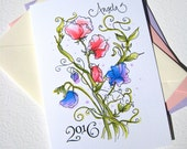 Sweet Peas Graduation Card - Girl Graduation - Personalized Card - Custom Calligraphy