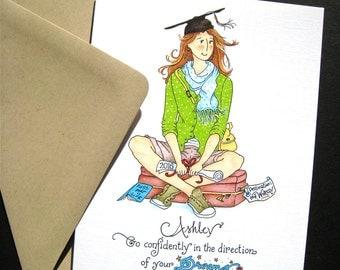 Graduation Card - Girl Graduate - Custom Graduation Card - Thoreau Quote - Go Confidently