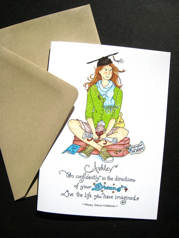 2016 Graduation Card - Girl Graduate - Custom Graduation Card - Thoreau Quote - Go Confidently