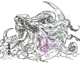 Maelstrom Blackwork CROSS STITCH PATTERN Woman With Lighthouse Original Art by Pseudaesthesia