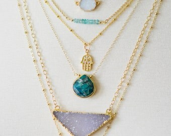 Large Amethyst Necklace, Gold Amethyst Necklace, Druzy Necklace, Chevron Druzy Necklace, Purple Druzy Necklace