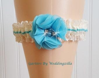 Ivory Lace Wedding Garter,  Turquoise Ivory Lace Wedding Garter,  Turquoise Bridal Garter,  Flower Wedding Garter Belt