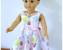 """1827 Valspierssews 18"""" Doll Clothes Pattern, 50s Style Dress, Bonus Blouse Pattern, Fits the American Girl Dolls, Instant Download"""