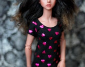 Minifee Black T Shirt With Pink Hearts For MSD BJD