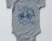 "Baby Onesie-""Life's A Ride""-Baby Boy Bicycle onesie-Grey onesie-Baby boy gift"