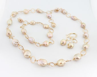 Souffle pearl convertible necklace, bracelet, jewelry set, earrings, blush, bride, champagne, handcrafted, gold: Simply Adorned
