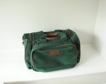 Vintage Lands End Green Canvas and Leather Duffel Bag