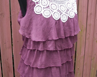 Burgundy Ruffle Tank with White Lace - Coachella Junk Gypsy Altered Clothing - Plus Size 14W