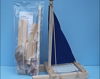 SAILBOAT Kit, BLUE Toy Sailboat, Wooden Toy Boat, Sailboat, Pool Toy, Birthday Party, Wood Boat,Toy Boat, DIY Boat Kit,Easter Gift,Party,Kit