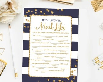 Navy Blue and Gold Mad Libs Game, Bridal Shower Games Printable Glitter Confetti Blue Bridal Shower Mad Libs Instant Download BR13