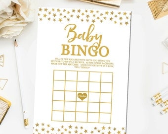 Gold Baby Shower Bingo Game, Baby Bingo Baby Shower Games Glitter Stars Confetti Twinkle Twinkle Baby Shower Game Print Instant Download BB7