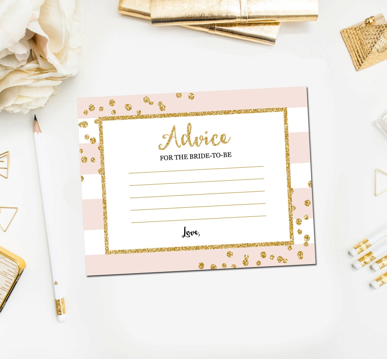 bridal shower advice for bride cards pink and gold bridal