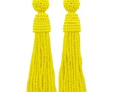 Yellow beaded tassel Earrings with sterling SILVER stud / Choose your length / high quality handmade dangle earrings