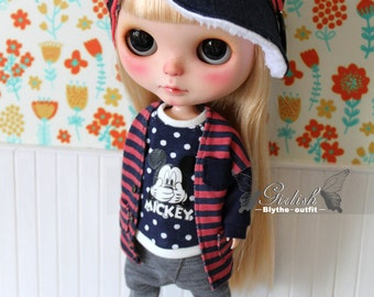 Girlish - Red Stripes Set for Blythe doll - dress / outfit