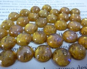 6 glass cabochons, 11mm, topaz gold opal, round