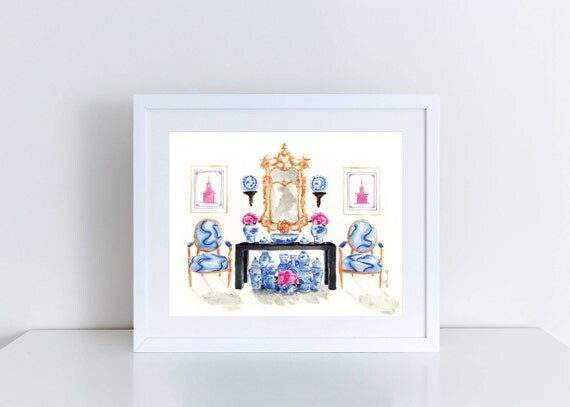 Pink & Blue Chinoiserie Interior 8 x 10 Giclee Print of Watercolor Blue and White Pink Peonies gilded gold