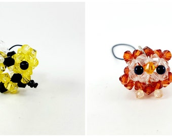 Beaded Animal Phone Charm, Bead Keychain, Bead Zipper Pull, Owl, Frog, Ladybug, Pig Charm, Cute Animal Charm or Zipper Pull, Beaded Animals
