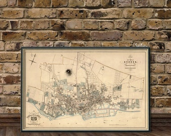 Dundee map -  Old city map fine print