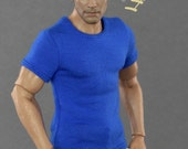 1/6th scale blue T-shirt for: regular size collectible poseable action figures and male fashion dolls