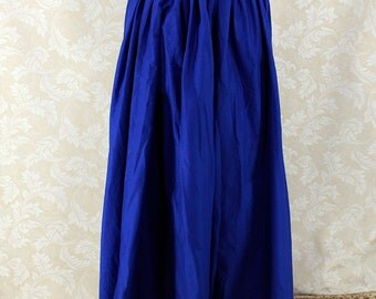 """Renaissance Wench Basic Skirt -- Royal Blue Cotton -- Fits up to 40"""" Waist, 38"""" Length -- Ready to Ship"""