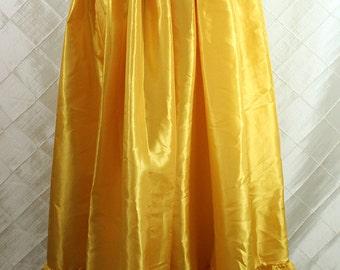 "Basic Ruffle Skirt -- Sunshine Yellow Taffeta --  41 1/2"" Length, Fits up to 42"" Waist -- Ready to Ship"