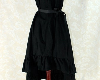 """Cap Sleeved Ragamuffin Dress in Black Cotton -- Size XS, Fits Bust 30""""-34"""" -- Ready to Ship"""