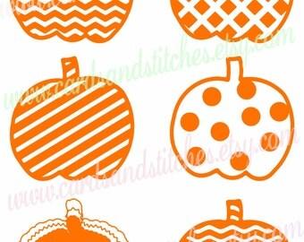 Pumpkins SVG - Chevron Pumpkins SVG - Digital Cutting File - Vector File - Instant Download - Cricut SVG File - Svg, Dxf, Jpg, Eps, Png