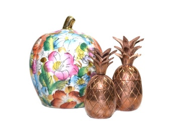 Vintage Copper Pineapples Ceramic Apple Box Ceramic Pumpkin 2 Brass Pineapples Fall Vignette Fall Home Decor