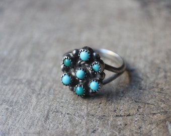 1940's Turquoise Cluster RING / Vintage Sterling Silver Jewelry /  Snake Eye Turquoise Ring