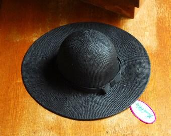vintage Frank Olive black straw summer hat