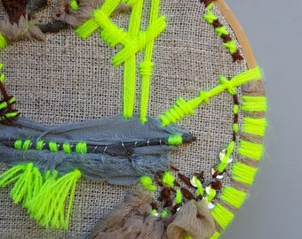 Embroidered wall art, hoop art, hoopla, natural linen and neon green, nature lovers, texturized, ready to hang, modern textile art