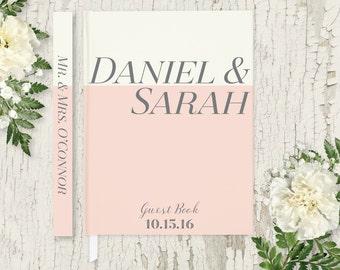 Blush Pink Wedding Guest Book Wedding Guestbook Custom Guest Book Personalized Guest Book Wedding Gift Modern Wedding Guest Book GB108