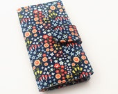 Womens Clutch Wallet, Vegan Bifold Wallet, Clutch, Flower and Mushroom Print, Navy and Coral